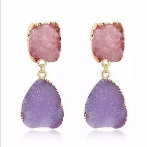3 For $18 Purple & Pink Druzy Dangle Earrings